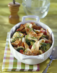 chicken breasts with crushed tomatoes and broccolis