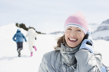Smiling woman outdoors in snow