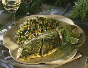 salmon with white wine ,lime and dill and semolina with vegetables