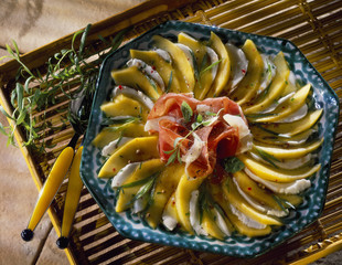 melon and mozzarella carpaccio with raw ham