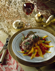 rolled beef with mango carpaccio and redcurrant coulis