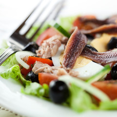 Salad with anchovy, tuna and egg