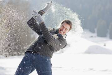 Man getting hit with snowball