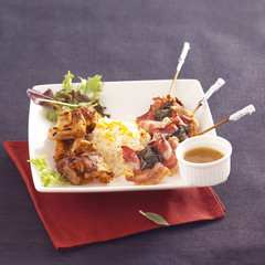roast pork spare ribs with citrus fruit and hot red pepper,pork kebabs with sage