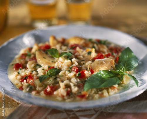 chicken,tomato and basil risotto