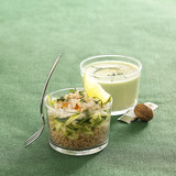 zucchini and crab tabbouleh,cucumber and yoghurt chilled soup