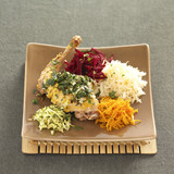 rabbit with mustard and grated vegetables