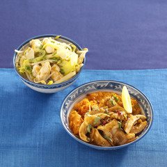 thinly sliced turkey caramelized with lemon and pumpkin puree,asian-style chicken with rice