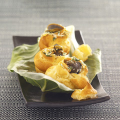 puff pastries filled with snails from bourgogne