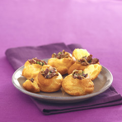 pastry puffs filled with mushrooms and chicken livers