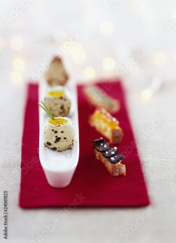 quails eggs with their shells and fancy fingers of bread