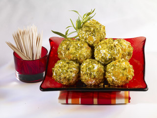 goat's cheese,pistachio and apricot truffles