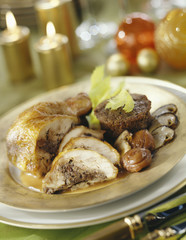 capon stuffed with chestnuts and ceps,moist chestnut timbale