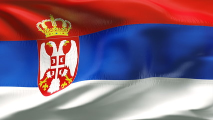 Creased Serbian satin flag in wind with seams and wrinkle