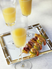 shrimp,apple and curry brochette ,duck magret and apricot brochette