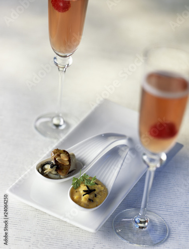 oysters with foie gras and scrambled eggs with truffles