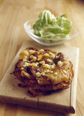 chicory,roquefort and walnut oil thin pastry tart