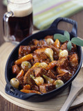 caramelized pork stew with onions and new carrots