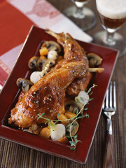 rabbit cooked with beer and vegetables