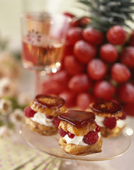 caramelized cream puff with summer fruit