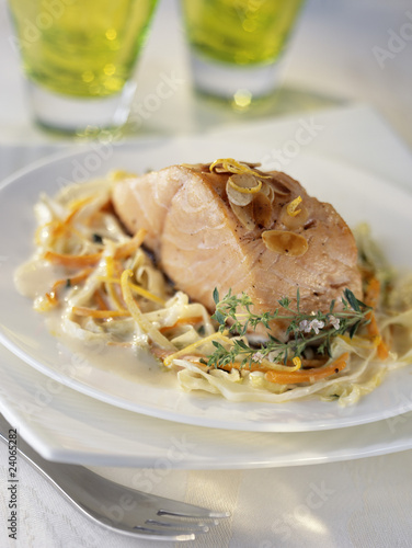 piece of salmon with almonds