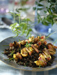 lentil salad with mussel and bacon brochettes