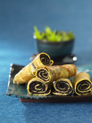 omelette rolls filled with tapenade