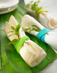 decorated rolled napkins