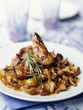 glazed guinea-fowl with mirabelle plums,mushrooms and rosemary