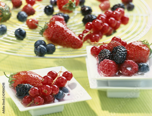 summer fruit in suger syrup