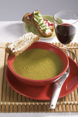 sorrel soup with fromage frais on toast