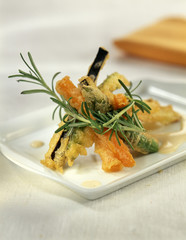 vegetable tempura with cream of anchovies