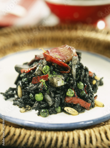 black rice with squid and pinenuts