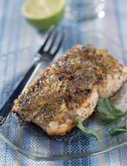 pan-fried salmon with lime and poppy seeds