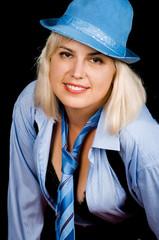 Woman posing in blue suit