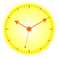 Ten past ten on a radiant yellow sunny clock, vector eps10