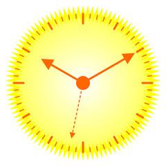 Ten past ten on a radiant yellow sunny clock, vector eps10