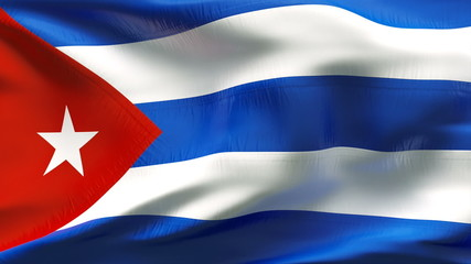 Creased Cuban satin flag in wind with seams and wrinkle