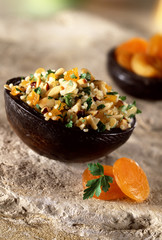 spicy bulgur with raisins, hazelnuts, coriander and parsley