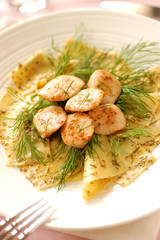 pan-fried salmon cheeks with dill and  tagliardi