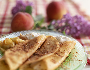 almond-flavoured and peach pancake