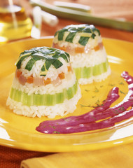 rice and vegetable timbale
