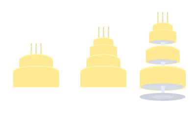 Yellow birthday cake in three variations