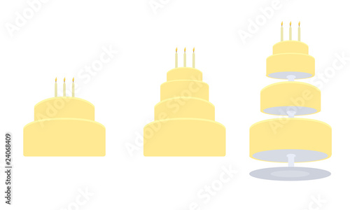 Yellow birthday cake in three variations