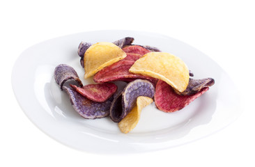 Colorful potato chips on a plate