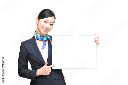 asian girl has blank white board