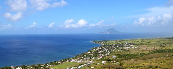 Beautiful coastline of St Kitts from Brimstone Hill.