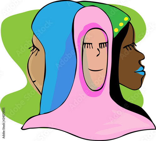 Three Serene Muslim Women In Meditation