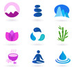 Wellness, relaxation and yoga icon set. Vector illustration
