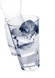 glass with ice and purified mineral water poster